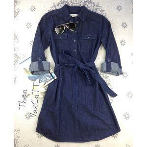 LOFT - 2 Pocket Denim Button Front Shirt Dress! <3